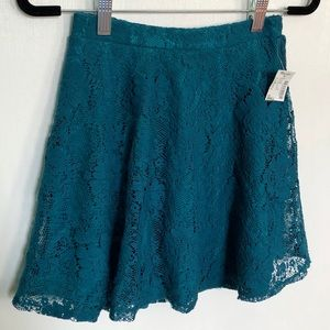 Mandee | Teal Lace Circle Skater Skirt